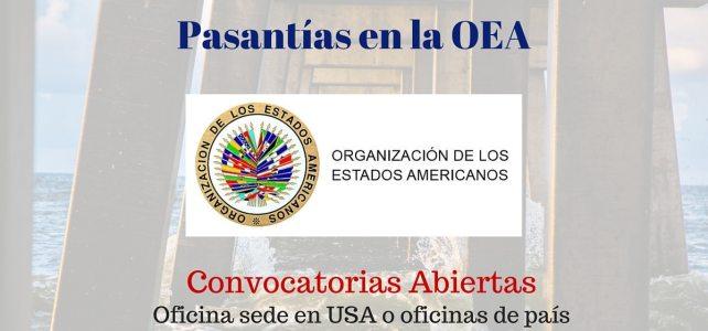 Pasantías en la OEA (Organización de Estados Americanos). Convocatorias abiertas !