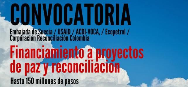 Financiación en Colombia a proyectos enfocados en paz y reconciliación.
