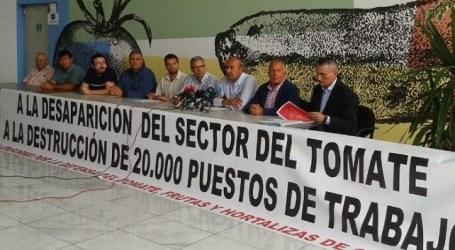 Concentración en San Telmo y reparto de 2.000 kilos de tomates en defensa del sector