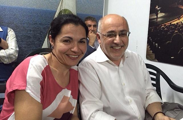Antonio Morales, con la candidata de NC a la Alcaldía de Mogán Isabel Santiago
