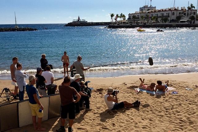 Playa de Mogán, rodaje de 1, 2, 3... Go!