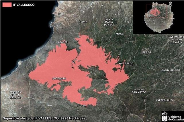 Incendio de Gran Canaria 2019, superficie quemada