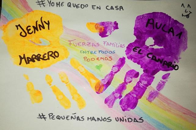 Los pequeños de las Escuelas Infantiles pintan sus manos y las unen simbólicamente para luchar contra el coronavirus Aunque están cerradas por la situación de estado de alarma, las ventanas de los centros educativos están llenas de dibujos de los niños y niñas que invitan a quedarse en casa