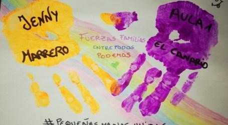 Los pequeños de las Escuelas Infantiles pintan sus manos y las unen simbólicamente para luchar contra el coronavirus