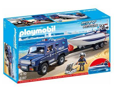 Ofertas juguetes de playmobil baratos coche de policia con lancha remolque