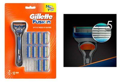 Oferta pack maquinilla con 11 recambios Gillette Fusion barato amazon