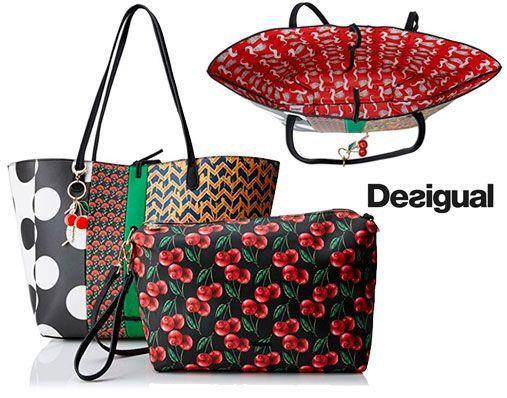Oferta bolso Desigual Shopper reversible Lola Patch barato amazon