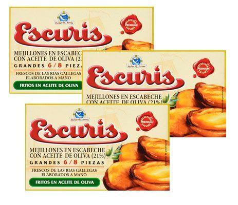 Oferta 3 latas de Escuris mejillones en escabeche fritos baratos amazon