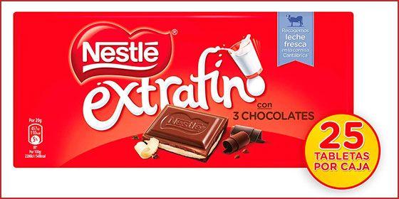 Oferta pack de 25 tabletas de Nestlé extrafino 3 chocolates