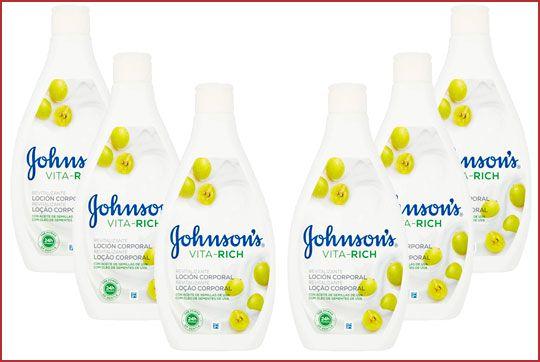 Oferta pack de 6 loción corporal Johnson's Vita-Rich uvas