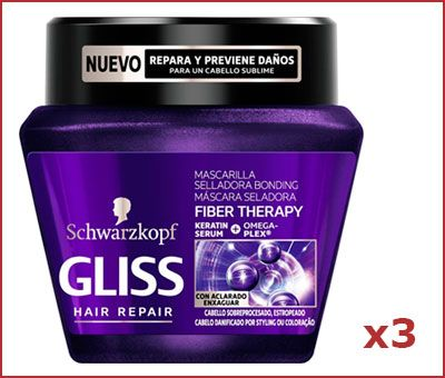 Oferta pack de 3 mascarilla Gliss Fiber Therapy