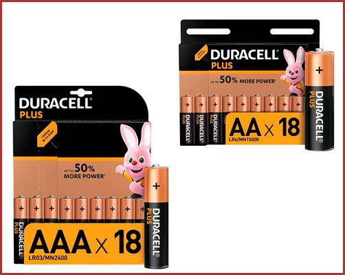 Oferta pack de 18 pilas alcalinas Duracell Plus AA o AAA baratas