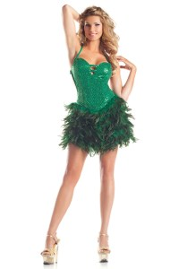 Green Sequin Feather Dress