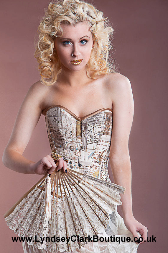 "alt=""world map steampunk corset"""