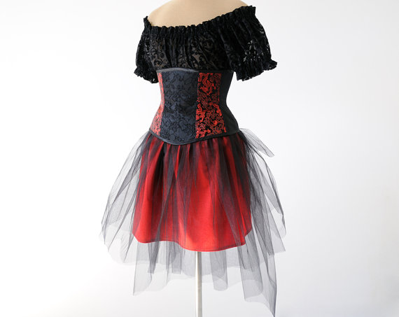 "alt+""black and red gothic lace costume dress"""