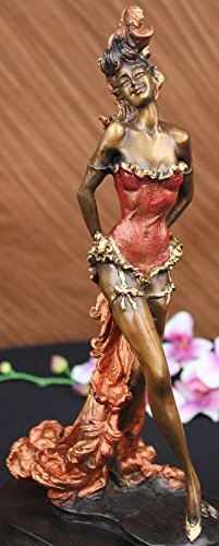 "alt=""Red Patina Spanish Flamenco Dancer Bronze Figurine"""