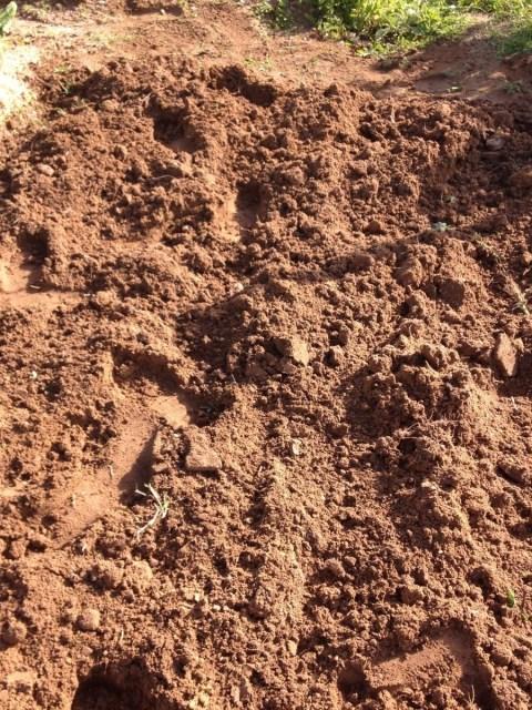 Terra lavrada à enxada