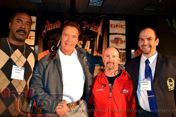 Johnny Graham (IPF and USAPL Vice President), Arnold Schwarzenegger, Larry Maile (USAPL President) and Emanuel Schieber (IPF General Secretary)