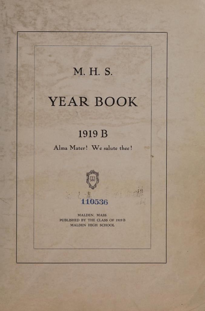 Malden High School 1919 B Yearbook