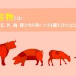 肉副産物とは?人用の肉、毛、角、歯、蹄と肉を除いた内臓を含むほとんどの部分