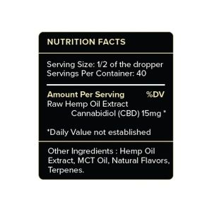 PureKana Vanilla CBD Oil Tincture Supplement Facts