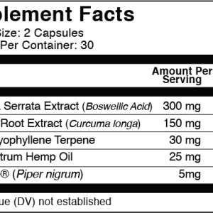 Relief CBD Capsules 750mg Supplement Facts | Original Hemp