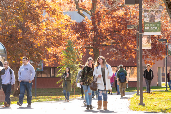 Students walking on Campus at Bristol Community College