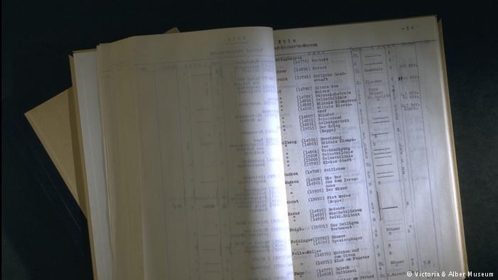 List of the Nazis' degenerate art inventory (Photo: Victoria & Alber Museum)