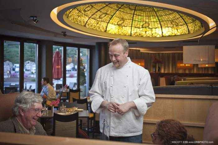 Chef Nemeroff Speaking with Diners in Ceres Bistro
