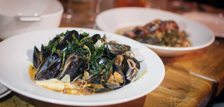 Sautéed mussels with pomme puree, crispy alliums, and herbs from deadhorse hill on Main Street in Worcester, MA