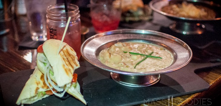 New England Clam Chowder & Veggie Sandwich from Bootleggers Prohibition Pub on Chandler Street in Worcester, MA