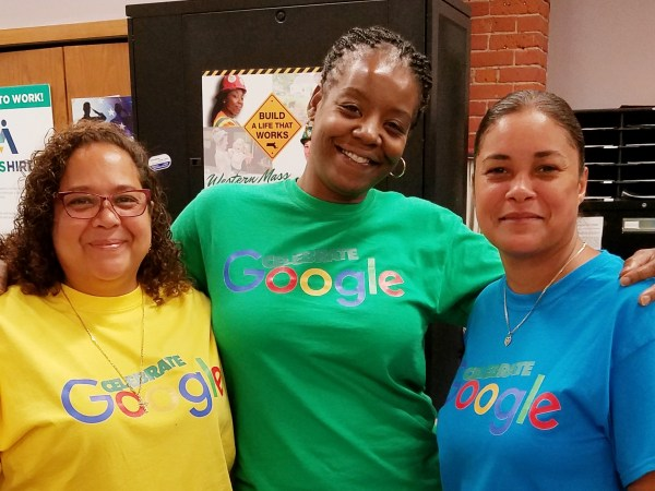 MassHire Springfield Staff Wearing Celebrate Google SHirts
