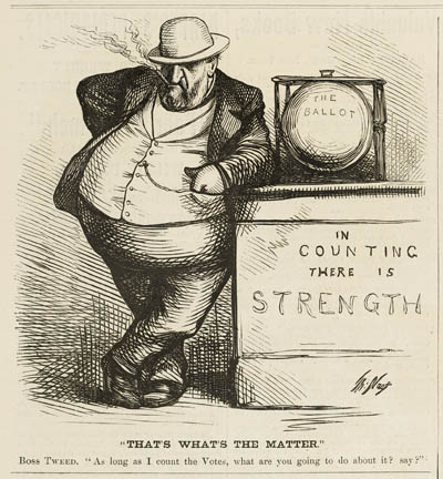 ``That`s What`s the Matter.` Boss Tweed. `As long as I count the Votes, what are you going to do about it? say?`` Political cartoon, engraving