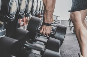 Male arm keeping sport equipment in gym