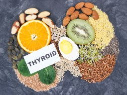 Ingredients as best nutritious food for healthy thyroid. Natural eating containing vitamins