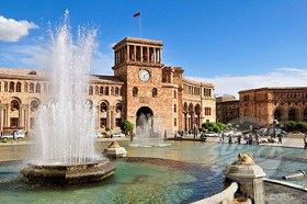 water fountain, Republic Square at downtown Yerevan, Jerewan, Armenia, Asia