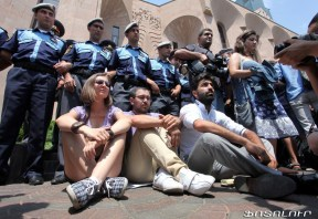 Activists rally in front of the Municipality of Yerevan demanding resignations