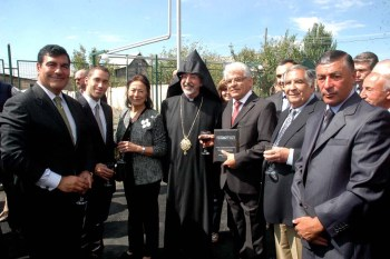 Left to right - FAR Board chairman Randy Sapah-Gulian, Grant and Janet Mardigian, and Archbishop Khajag Barsamian