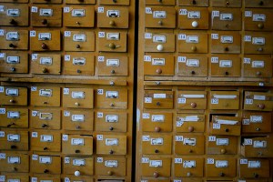 Old-fashioned library catalog card system for books published between  1512-1920 at the National Library of Armenia
