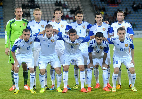 Armenia national team before the game against Denmark