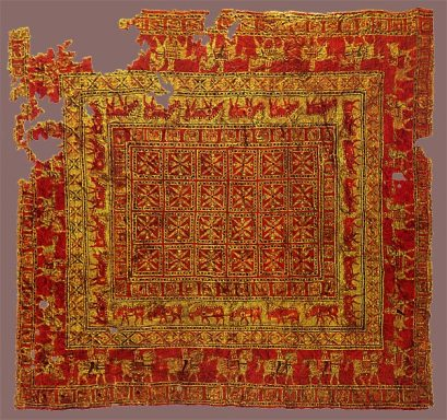 Of Armenian origin, the Pazyryk carpet, the oldest, single, surviving knotted carpet in existence, excavated from a frozen tomb in Siberia, , dated from the 5th to the 3rd century BC.