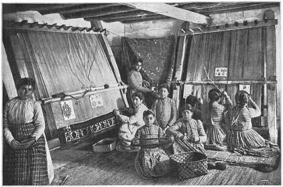 Armenian girls, weaving carpets in Van, 1907, Western Armenia.