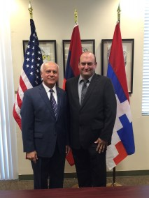 S.D.H.P Executive Board member Garry Sinanian with Honorary Consul Andy Armenian