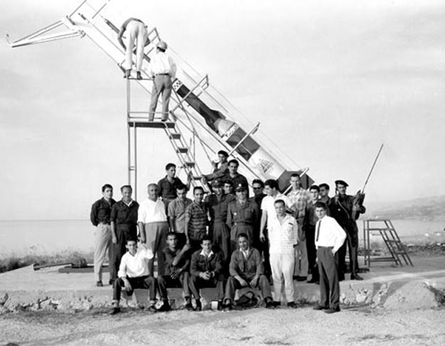 Members of the Haigazian Rocket Society preparing to launch one of the rockets in early 1960s