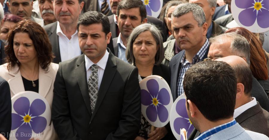 Ara Sarafian, Gultan Kisanak, and Selahettin Demirtas at Armenian Genocide Commemoration in Diyarbakir, 24 April 2015 (Photo by John Lubbock)