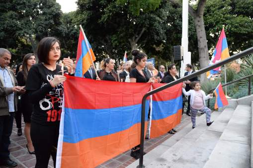 4-12-2016, Councilmembers Paul Krekorian, David E. Ryu, Nury Martinez, Marqueece Harris-Dawson and Mitch O\'Farrell with County Board of Supervisor Michael D. Antonovich attend the Vigil for Peace in memory of the people from in Artsakh, Armenian who has been killed by the government of Azerbaijan.