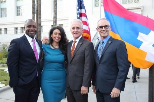 Councilmembers; Marqueece Harris-Dawson, Nury Martinez, Paul Krekorian, and Mitch O'Farrell - Courtesy ARKA Photo