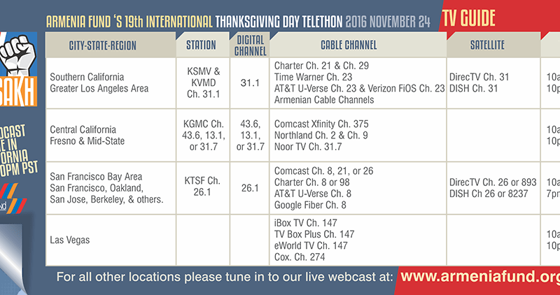 Armenia Fund Thanksgiving Day Telethon 2016 - TV Guide • MassisPost