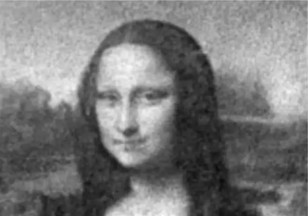 "Scientists grew this portrait of Leonardo da Vinci's <em>Mona Lisa</em> from genetically altered, light-sensitive E. coli bacteria. Photo courtesy of the Università di Roma ""Sapienza"", Italy; Institute of Nanotechnology (NANOTEC-CNR), Italy."