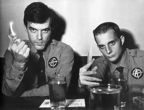 Boyd Rice, right, photographed with white suprematist group American Front founder Bob Heick, for a 1989 article inSassymagazine about Neo-Nazis. Photo courtesy of Sassy.